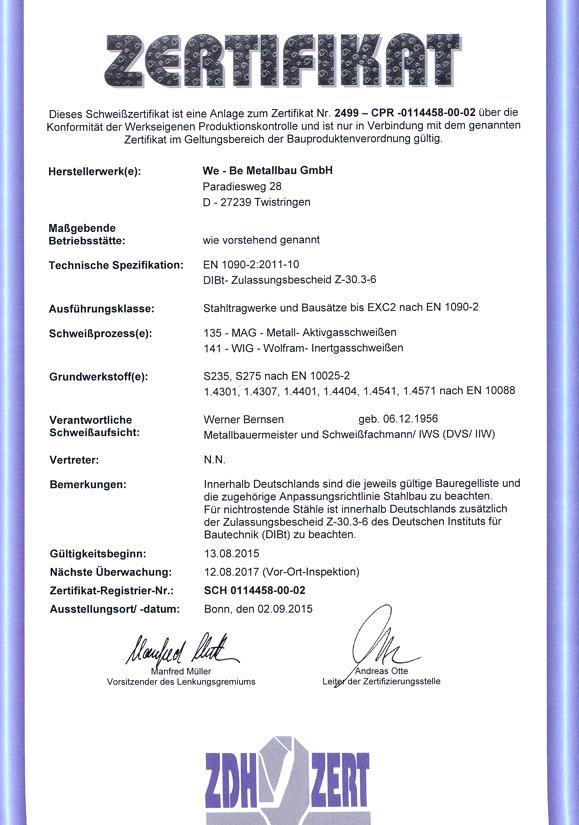 Webe Metallbau GmbH | Metallbau | Twistringen | Ratingbook.de